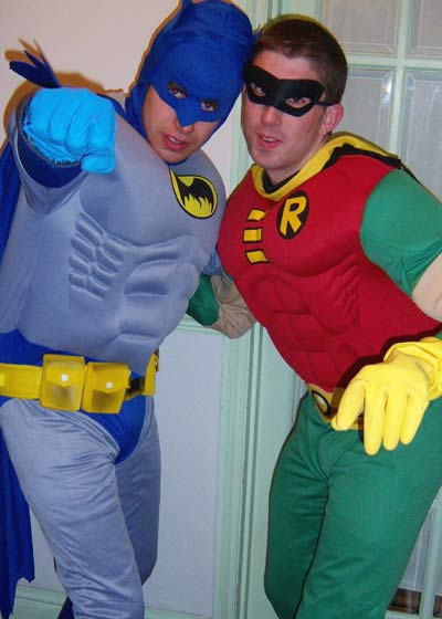 Rodney as Robin and Del as Batman