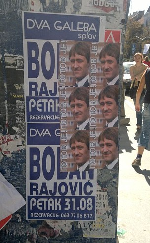 Del of an election: A poster campaign featuring Rodney Trotter is being used in Serbia (Picture: CEN)