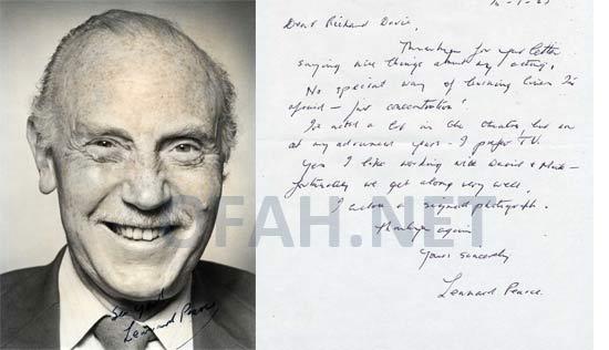 Lennard Pearce Letter