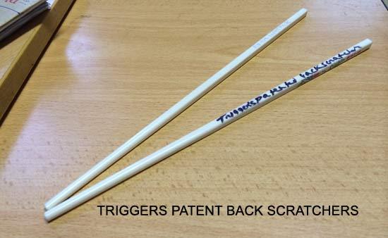 backscratcher made out of chopsticks