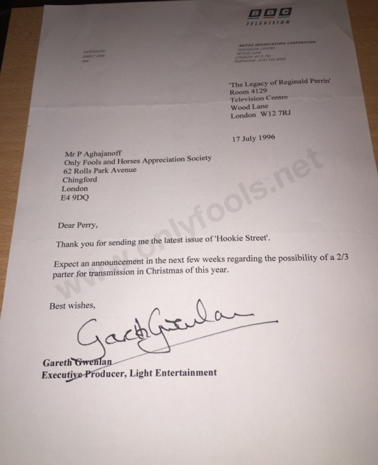 Gareth Gwenlan letter