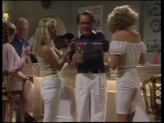 Girl - The Unlucky Winner Is (Del talks to a women at the bar before the disco, she says 'Ta ra mate, thank you') - think it is the girl left of Del