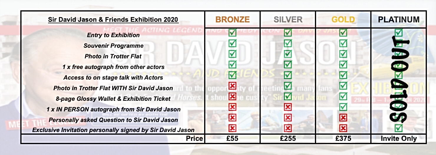 attend or meet David Jason Exhibition 2020