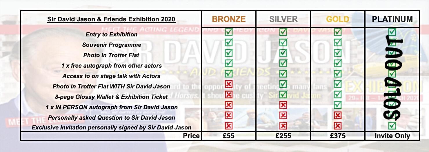 attend or meet David Jason Exhibition 2020