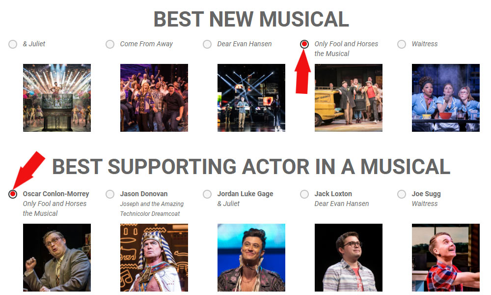 Only Fools and Horses Musical vote